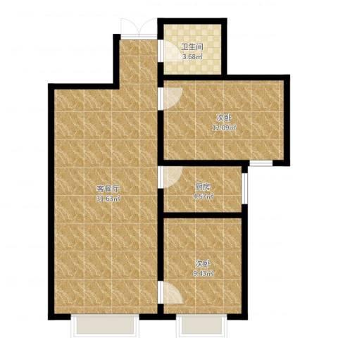 世纪春天2室2厅1卫1厨77.00㎡户型图