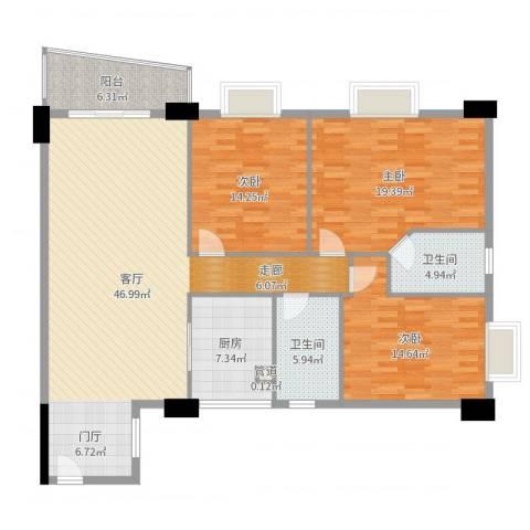 花街18三期3室1厅2卫1厨150.00㎡户型图