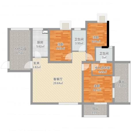 中海国际社区橙郡1期7栋F13室2厅2卫1厨121.00㎡户型图
