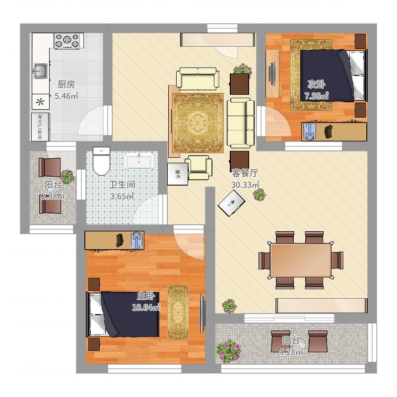 前进海纳都89.40㎡E户型2室2厅1卫1厨-副本户型图