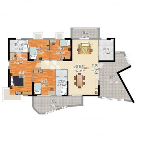 泰湖花园4室2厅2卫1厨198.00㎡户型图