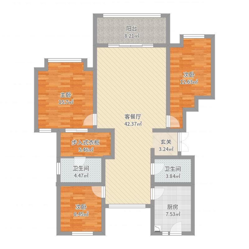 公园壹号院138.00㎡1#、3#、6#、7#标准层A-3户型3室3厅2卫1厨户型图