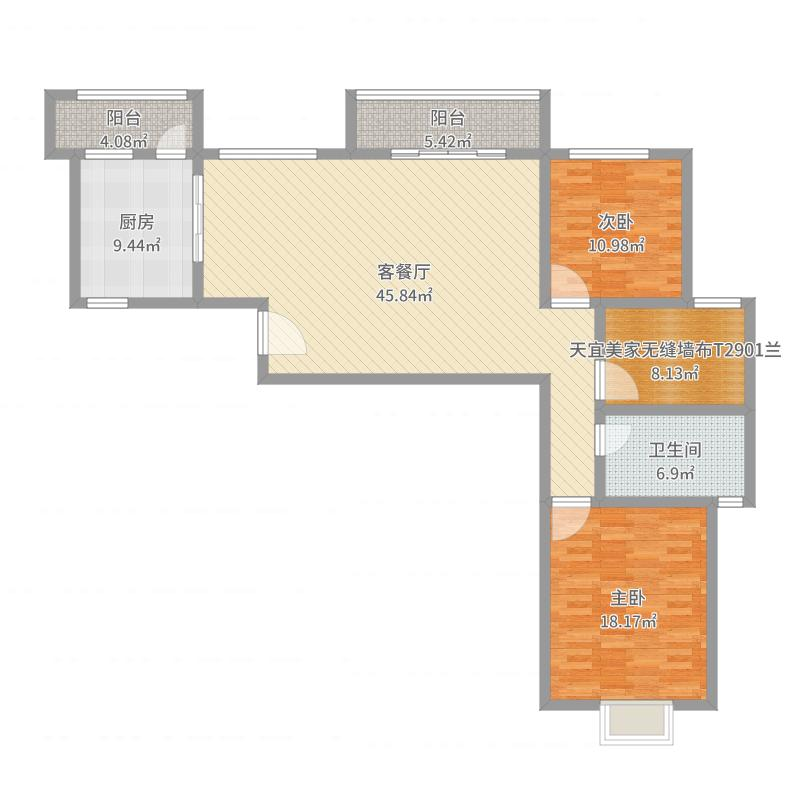 130方简约宜家两居室-副本户型图