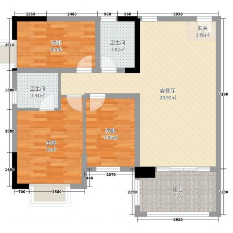 碧桂园山河城3室2厅2卫0厨91.00㎡户型图