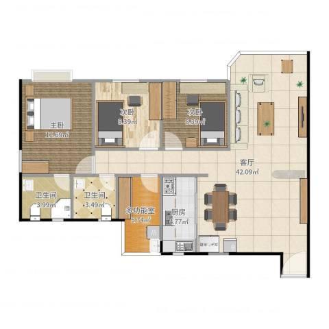 湖柏山庄3室1厅2卫1厨95.00㎡户型图
