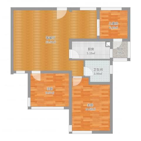 雅戈尔潇邦3室2厅1卫1厨95.00㎡户型图
