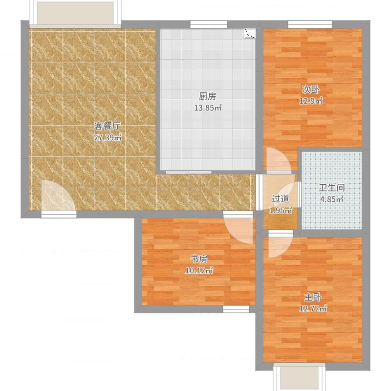 105方现代简约两居-副本户型图