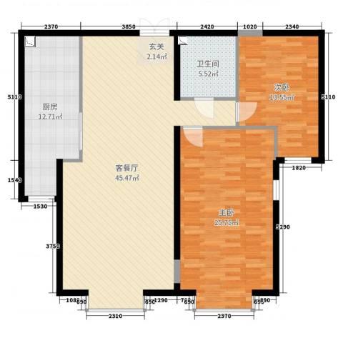 园艺御景2室2厅1卫1厨103.00㎡户型图