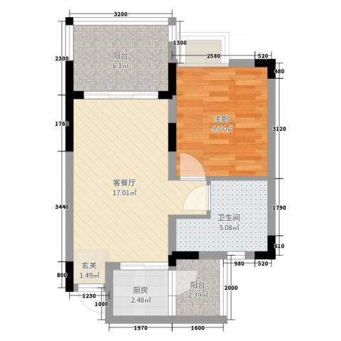衍宏美丽春天4期1室2厅1卫1厨55.00㎡户型图