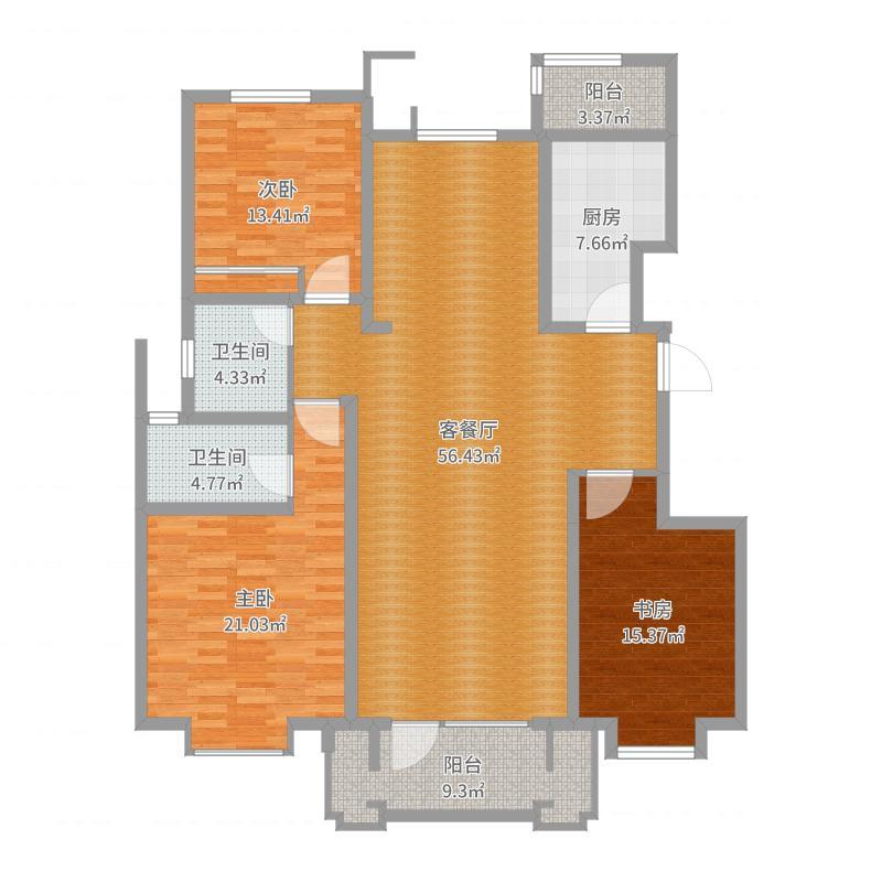 康城・瑞河兰乔三室两厅两卫139.27平米户型图