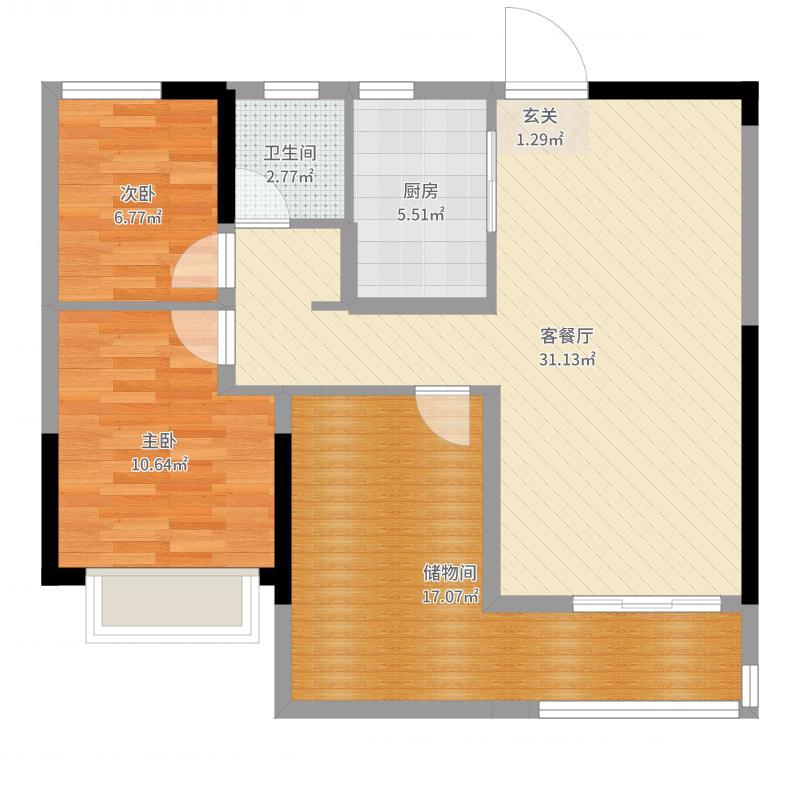 九龙仓碧玺89.00㎡高层A户型3室3厅1卫1厨-副本户型图