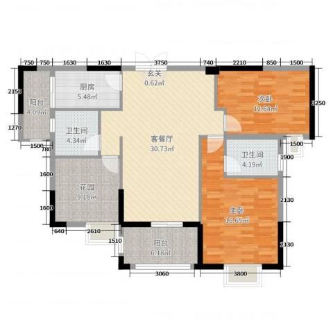 人和春天花园2室2厅2卫1厨109.00㎡户型图