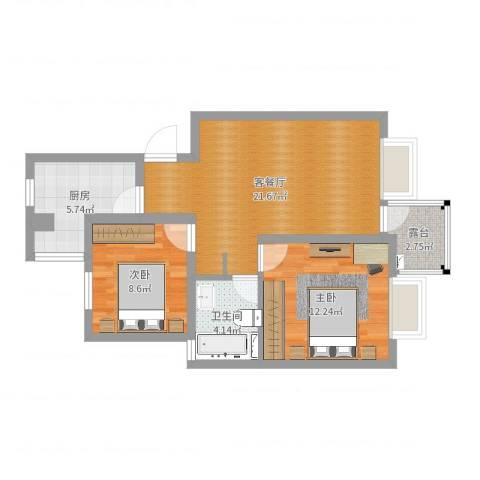 菊盛路1158弄馨佳园40#202室2室2厅1卫1厨69.00㎡户型图