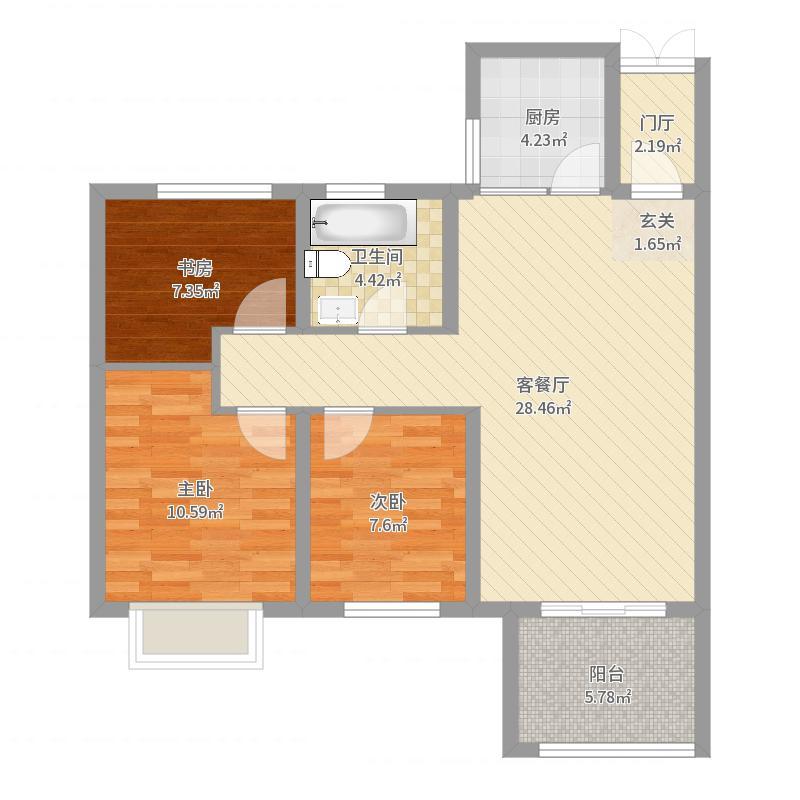 东冠逸轩88.28㎡一期4#楼标准层B2-3户型3室3厅1卫1厨户型图