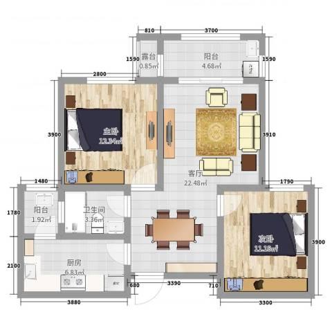巴山凤祥园2室1厅1卫1厨80.00㎡户型图