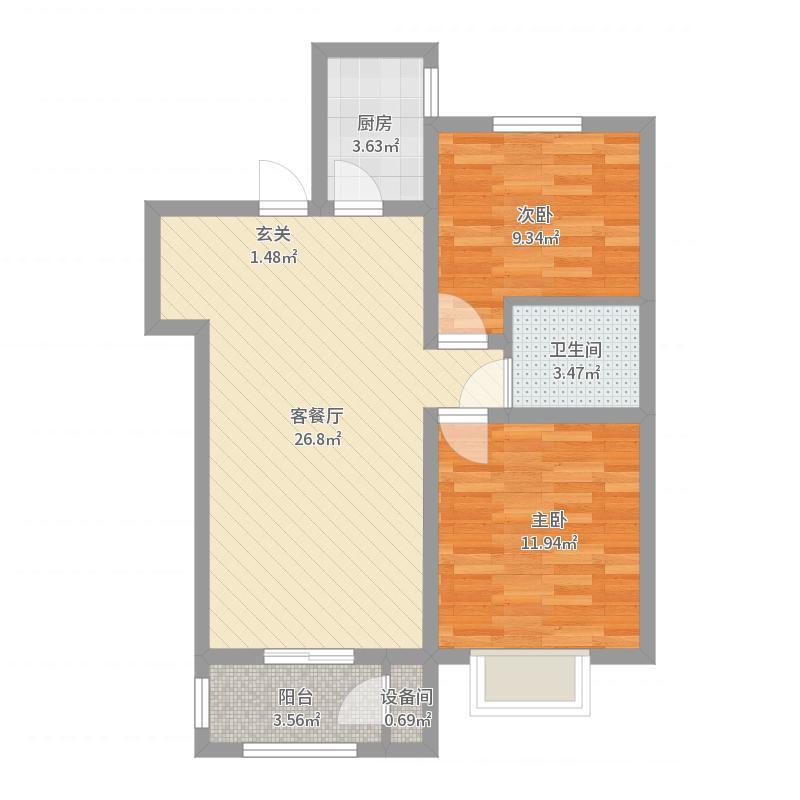 百合・颐景园90.00㎡B户型2室2厅1卫1厨-副本户型图