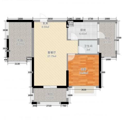 人和春天花园1室2厅1卫1厨80.00㎡户型图