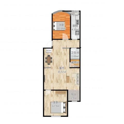 望京西园一区2室1厅1卫1厨84.00㎡户型图
