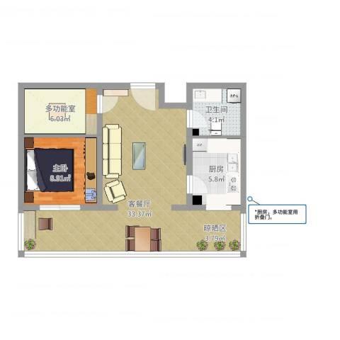 龙腾花园1室2厅1卫1厨73.00㎡户型图