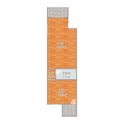 五凤兰庭七期1室1厅1卫1厨121.00㎡户型图