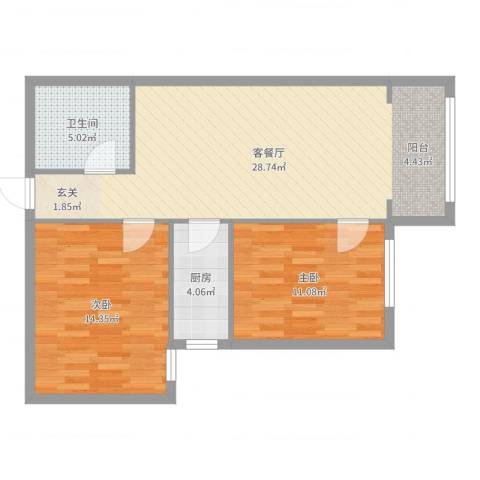 城市亮点2室2厅1卫1厨79.00㎡户型图