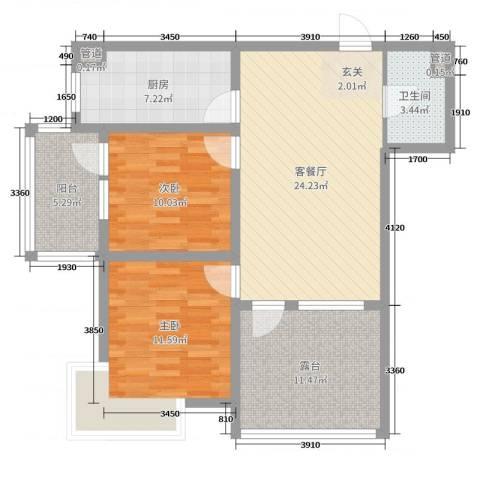 中房・金沙滩澜湾2室2厅1卫1厨92.00㎡户型图