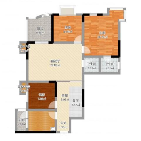 金桥彼岸3室2厅2卫0厨111.00㎡户型图
