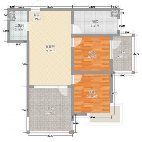 中房・金沙滩澜湾2室2厅1卫1厨94.00㎡户型图