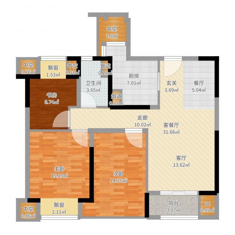 中城誉品88.00㎡精致户型3室2厅-副本户型图