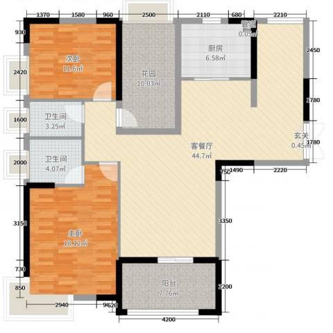 人和春天花园2室2厅2卫1厨125.00㎡户型图
