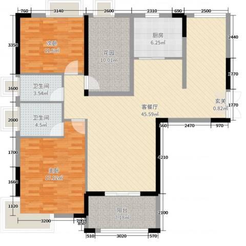 人和春天花园2室2厅2卫1厨122.00㎡户型图