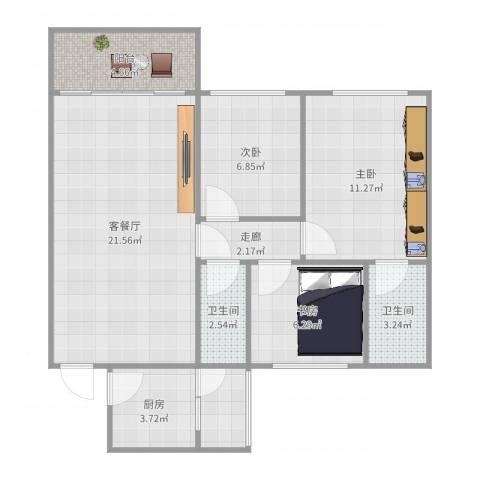 瑞丽花园3室2厅2卫1厨80.00㎡户型图