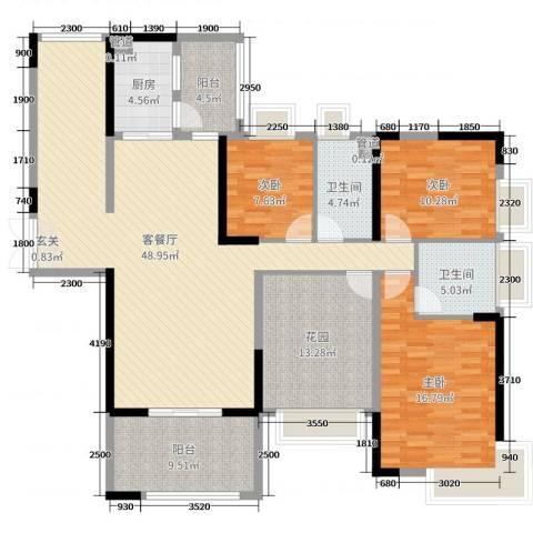 人和春天花园3室2厅2卫1厨147.00㎡户型图