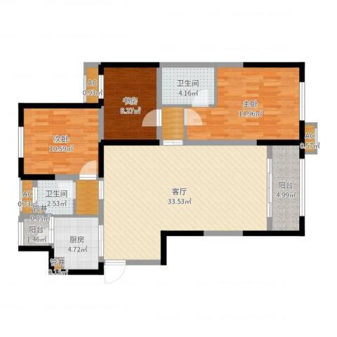 天朗五珑3室1厅2卫1厨114.00㎡户型图