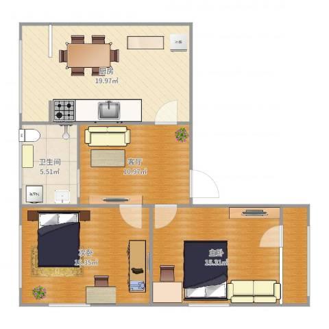 三塔社区2室1厅1卫1厨88.00㎡户型图