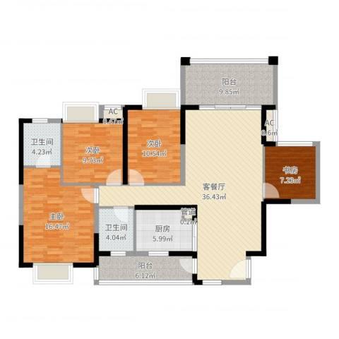 龙军花园4室2厅2卫1厨140.00㎡户型图