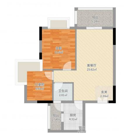 汇景银座2室2厅1卫1厨73.00㎡户型图