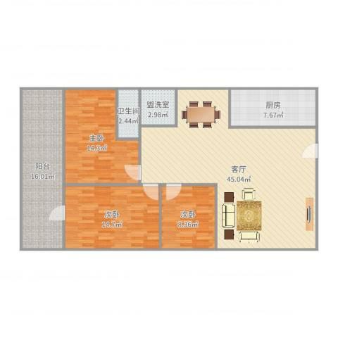 信达大厦二期3室3厅1卫1厨139.00㎡户型图