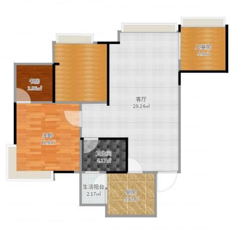 雄飞新园紫郡3室1厅1卫1厨91.00㎡户型图