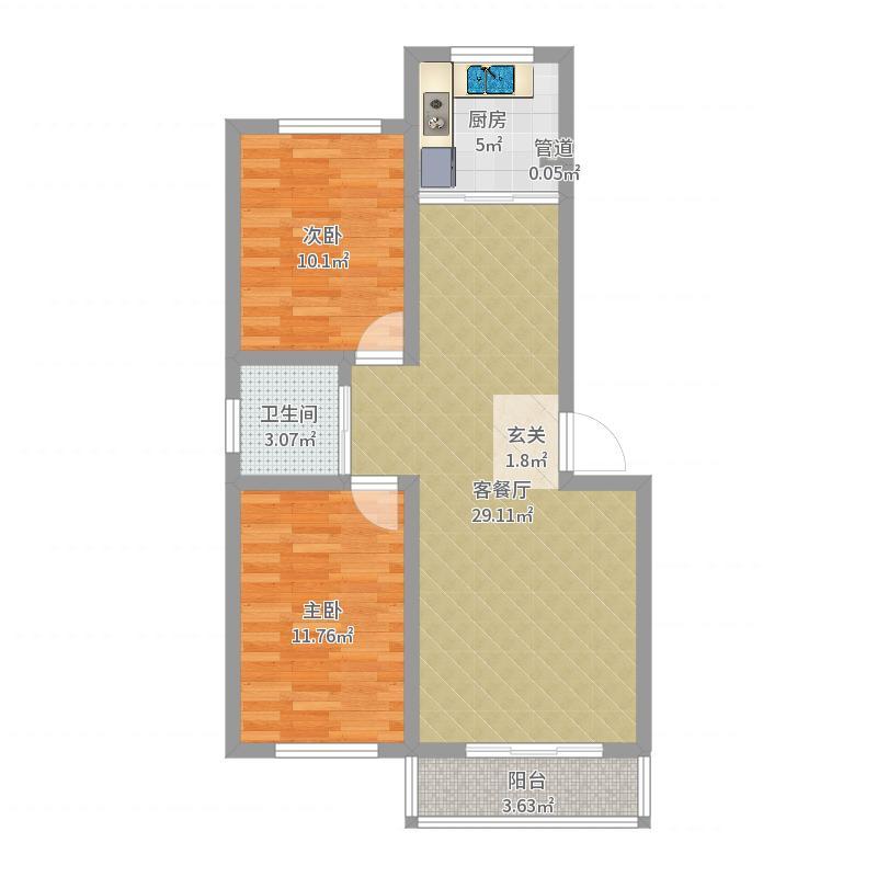 龙苑小区户型2室2厅1卫-副本户型图