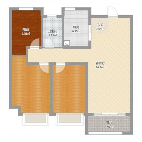 琥珀新天地1室2厅1卫1厨104.00㎡户型图