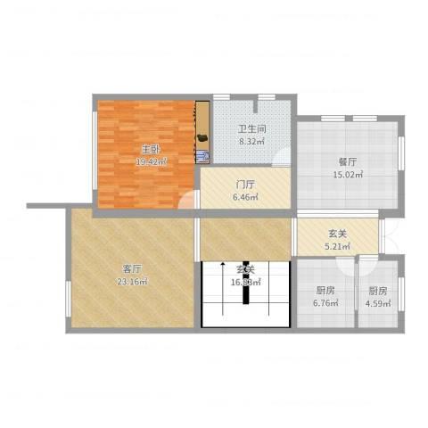 国泰润园1室2厅1卫2厨132.00㎡户型图