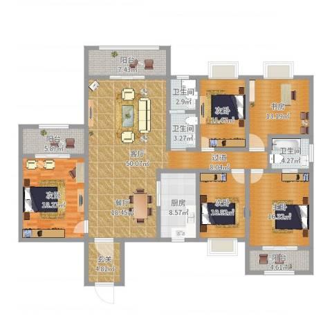 天一康园5室1厅3卫1厨202.00㎡户型图