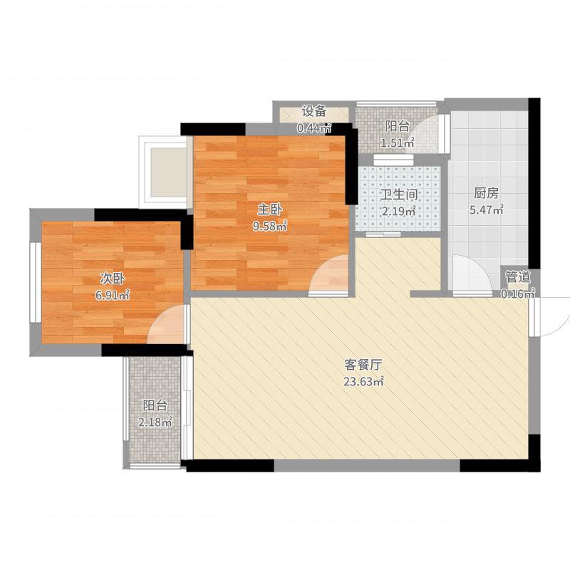 奥园越时代一期2-8号楼标准层A3户型户型图