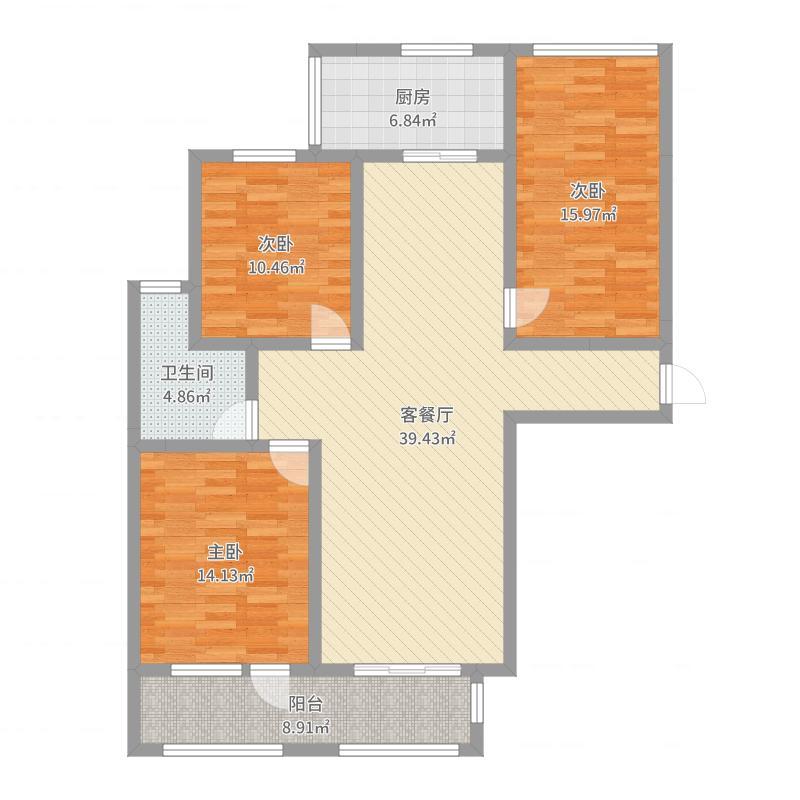 勒泰城12.60㎡D户型2室2厅1卫1厨-副本户型图
