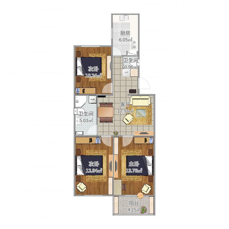 17-3-21九龙花园3号楼4门602室户型图