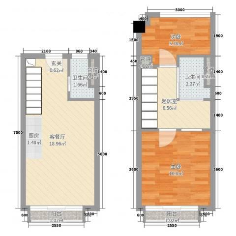 招商金山谷2室2厅2卫0厨48.60㎡户型图
