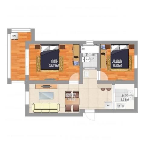 采荷小区2室2厅1卫1厨62.00㎡户型图