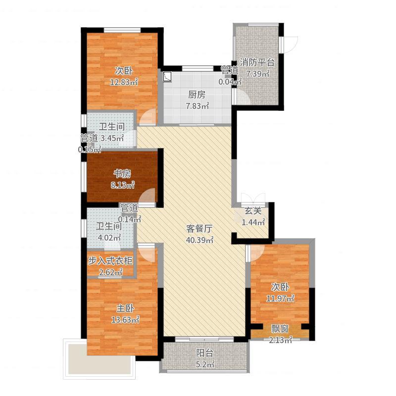 万科金域蓝湾166.00㎡D户型4室4厅2卫1厨-副本-副本-副本户型图