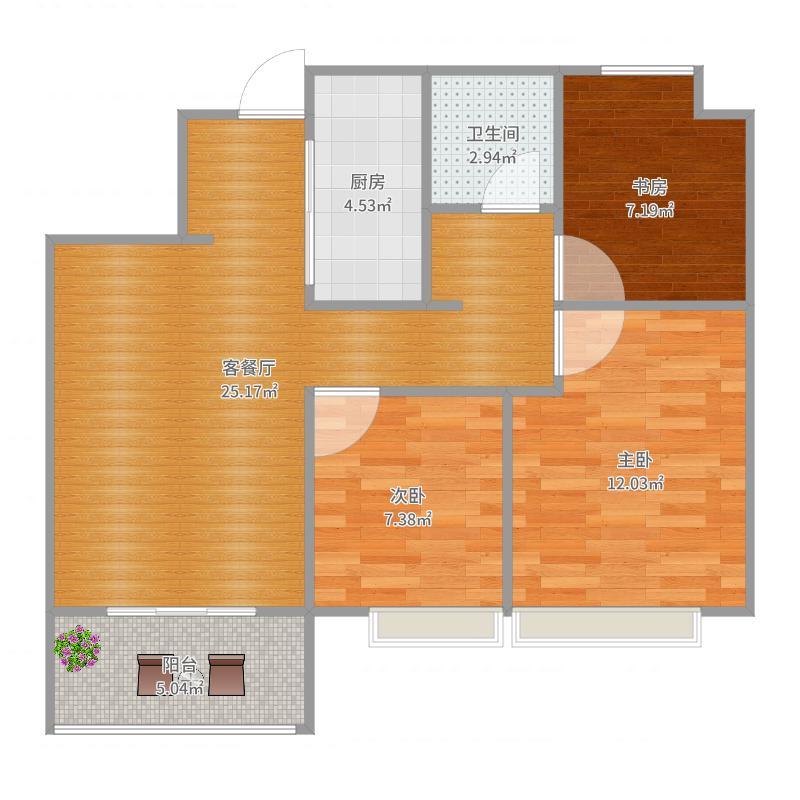 万科翡翠公园90平三室精准尺寸-副本户型图